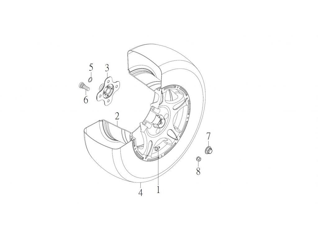 "SMC 720R - rozkres - REAR WHEEL ( 14"" alloy wheel )"