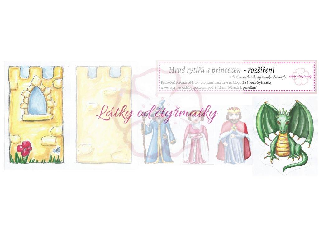 1Hrad rytířů a princezen látkový panel rozšíření látky od čtyřmatky