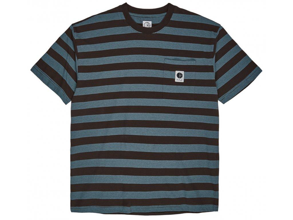 Stripe pocket tee brown blue1