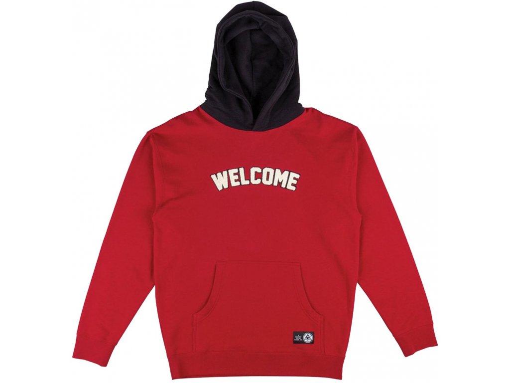 welcome hoodies veil 2 french terry red black vorderansicht 0445681