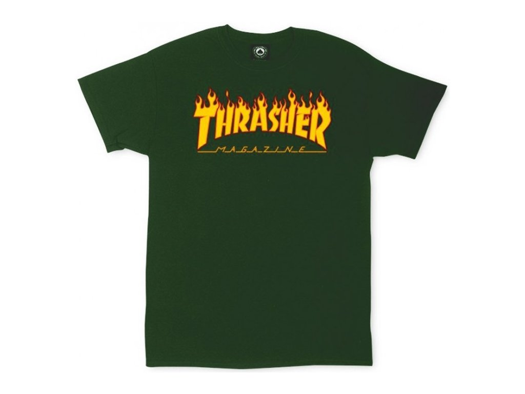 cha thrasher flame logo tee forest green