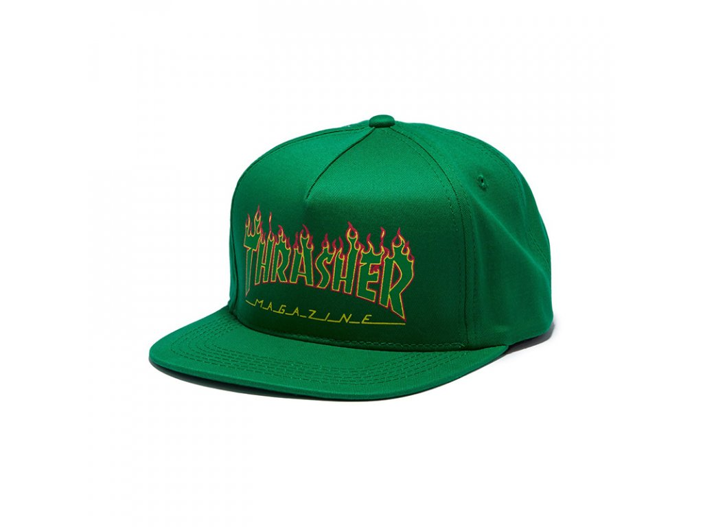 vyr 782thrasher flame logo structured snapback cap green 1