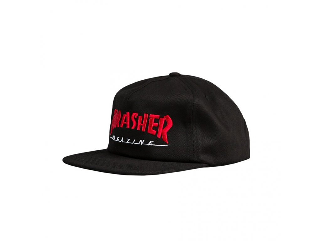 thrasher magazine logo two tone cap black red 1