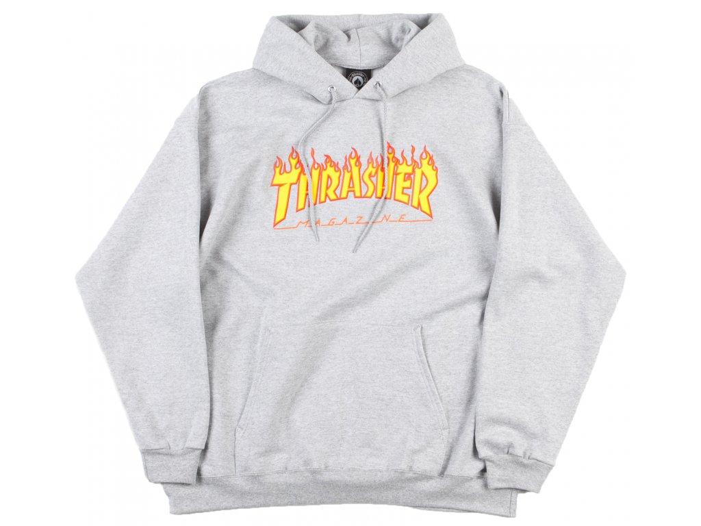 thrasher flame logo hooded sweatshirt heather grey 1