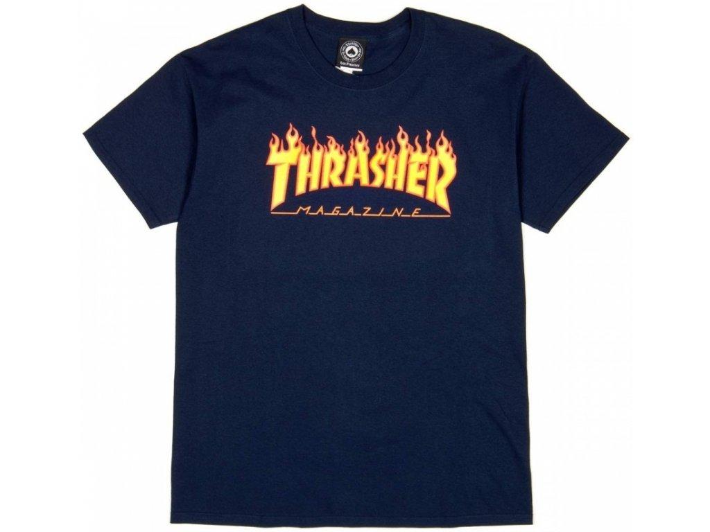 thrasher flame logo tee navy blue s234813nv 01.99