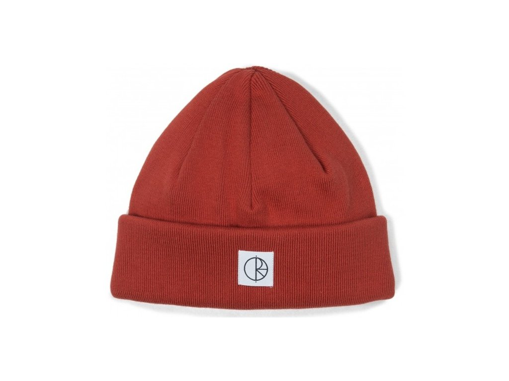 polar double fold beanie brick red cat