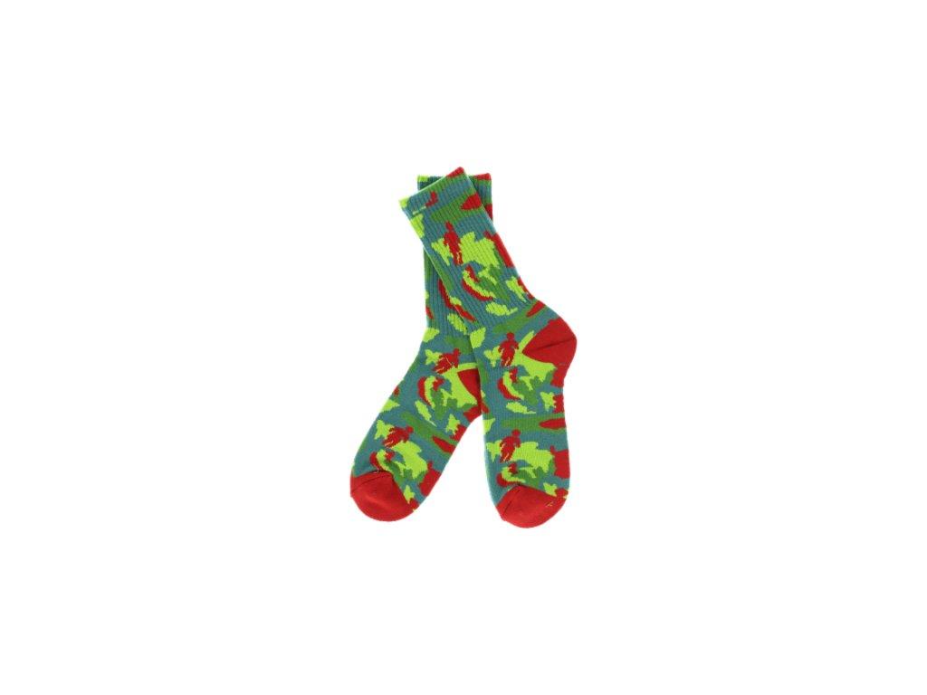 girl og jungle crew socks red green single pair
