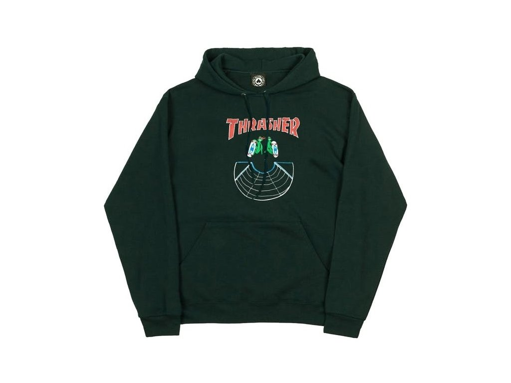 THRASHER DOUBLES HOODIE FOREST GREEN 14895.1564415669.1280.1280