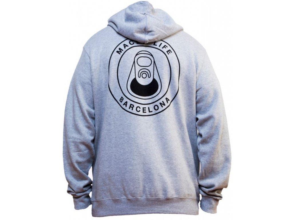macba life hoodie og logo heather grey back