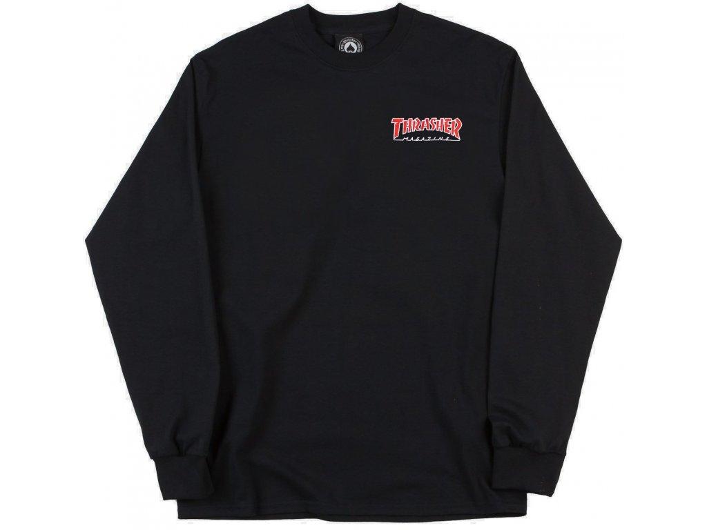 Thrasher Skateboard Magazine Embroidered Outlined Long Sleeve T Shirt Black