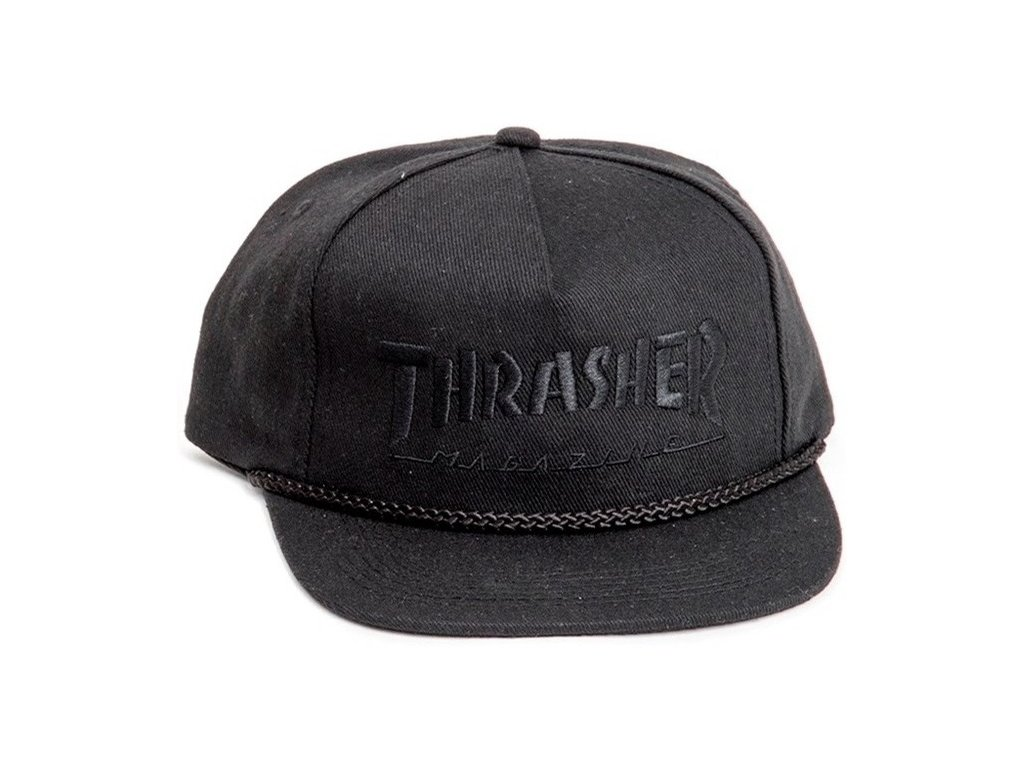 rd thrasher rope snapback hat black black