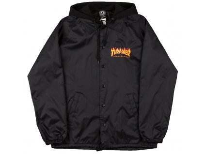 vyrp12 1288thrasher flame logo coach jacket w fleece hoodie black 1