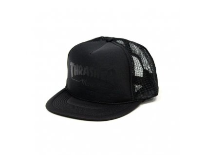 THRASHER LOGO PRINTED BLACK BLACK MESH CAP grande