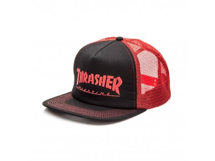 thrasher logo embroidered mesh hat red black 1.1478245363