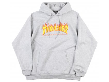 thrasher flame logo hooded sweatshirt heather grey 1