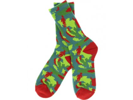 girl og jungle crew socks red green single pair