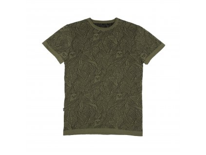 NERMAL LEAF KNIT REVERSIBLE TEE (OLIVE BLACK) 1