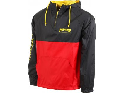 thrasher mag logo anorak jacket black red