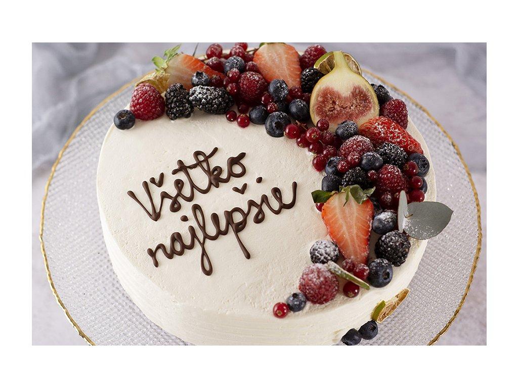 Foret noire torta so zdobenim polmesiac s napisom cukrari.sk