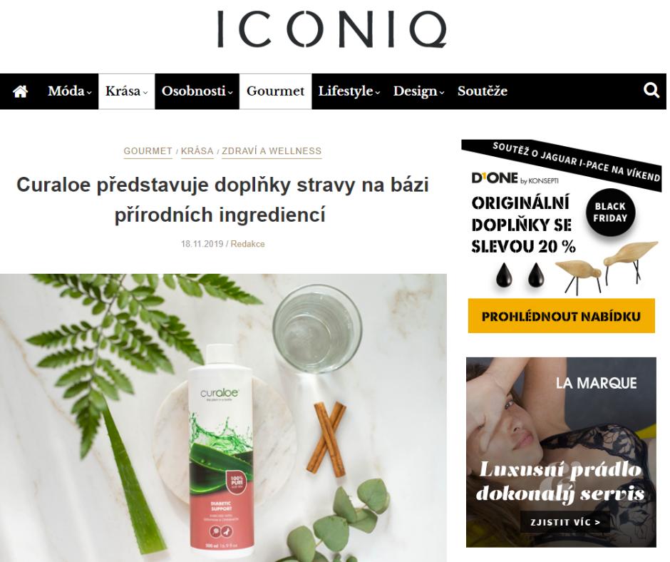 Trendy portál Iconiq píše o džusech Curaloe