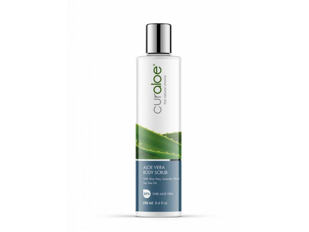 Hydratační tělový a obličejový peeling s 85% Aloe Vera Curaloe 250 ml