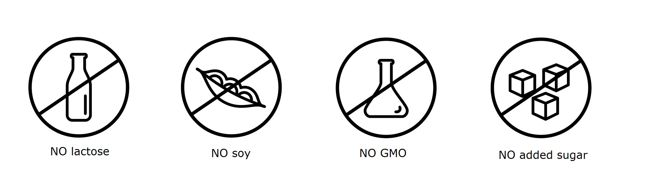 SOY FREE LACTOSE FREE NO ADDED SUGAR NON GMO