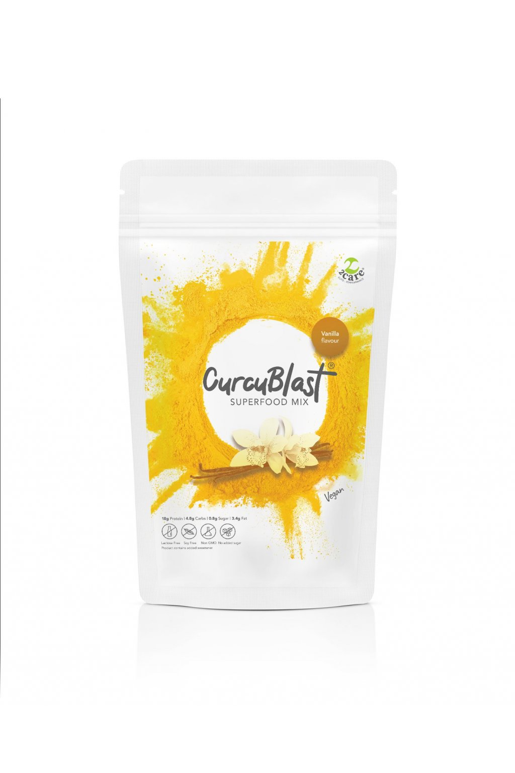 Vanilla flavoured turmeric infused vegan protein