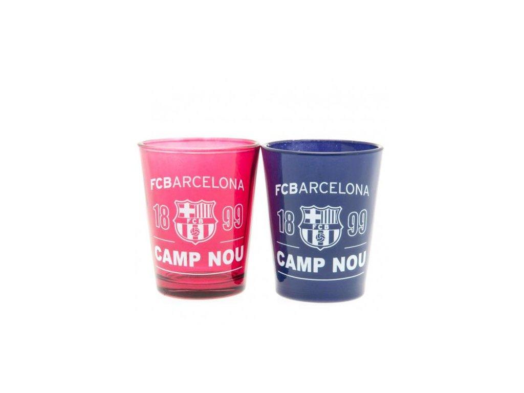 SKLENICE ŠTAMPRLE SKLO|BARCELONA FC  50 ml|SET 2 KUSY|ČERVENÁ|MODRÁ