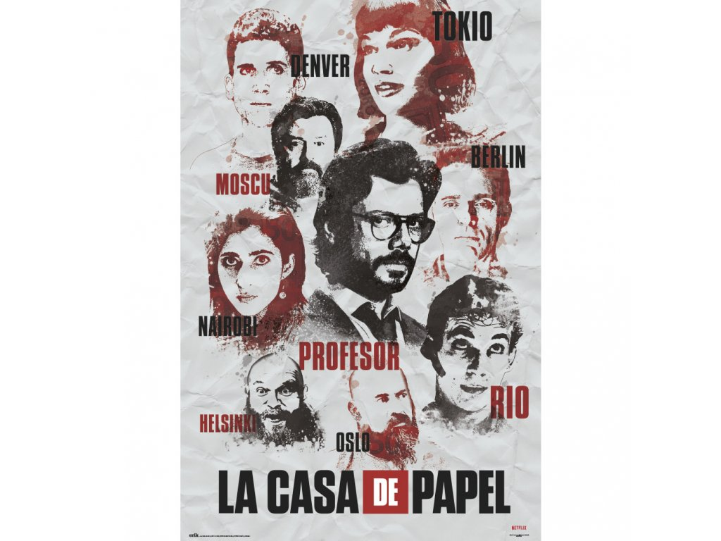 PLAKÁT 61 x 91,5 cm NETFLIX  LA CASA DE PAPEL CHARACTERS