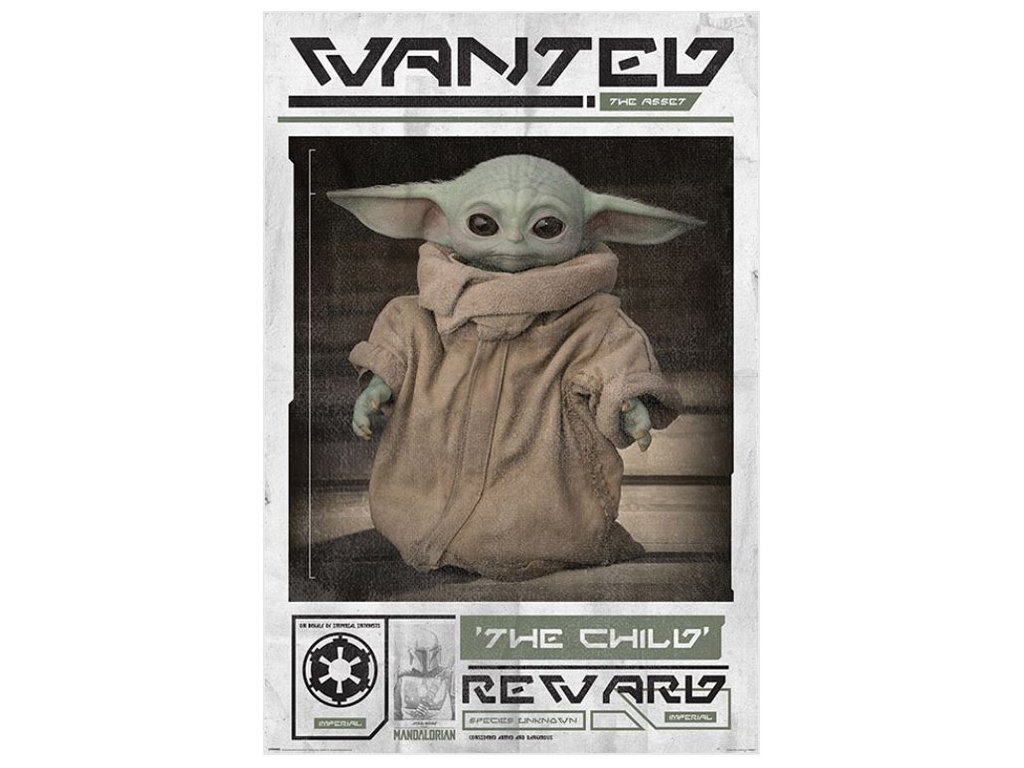 PLAKÁT 61 x 91,5 cm|THE MANDALORIAN  WANTED THE CHILD|YOUNG YODA