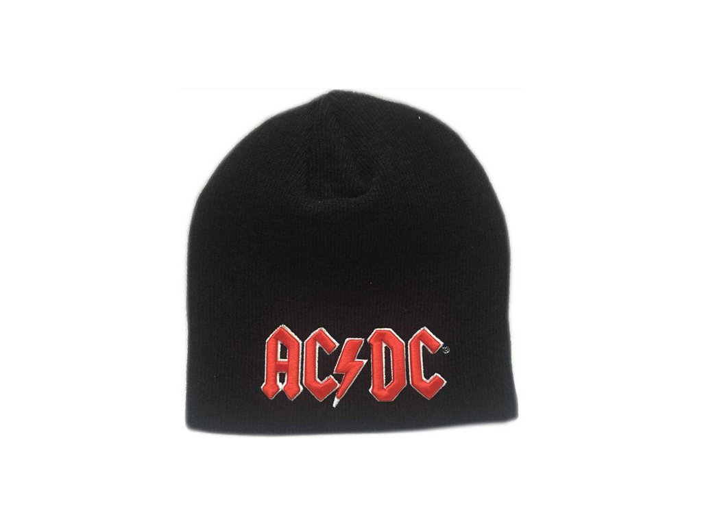 ČEPICE ÚPLETOVÁ ZIMNÍ|AC/DC  3D RED LOGO|ČERNÁ|UNIVERZÁLNÍ
