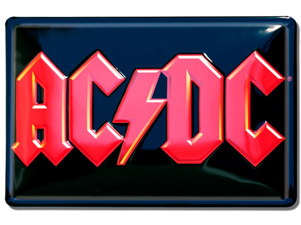 CEDULE NA ZEĎ A4 AC/DC  3D RED LOGO ROCK 30 x 20 cm