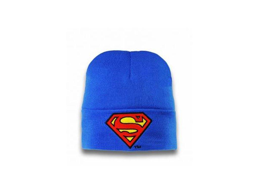 DĚTSKÁ|ČEPICE ZIMNÍ|SUPERMAN  LOGO|PŘELOŽENÁ|MODRÁ||UNIVERSÁLNÍ