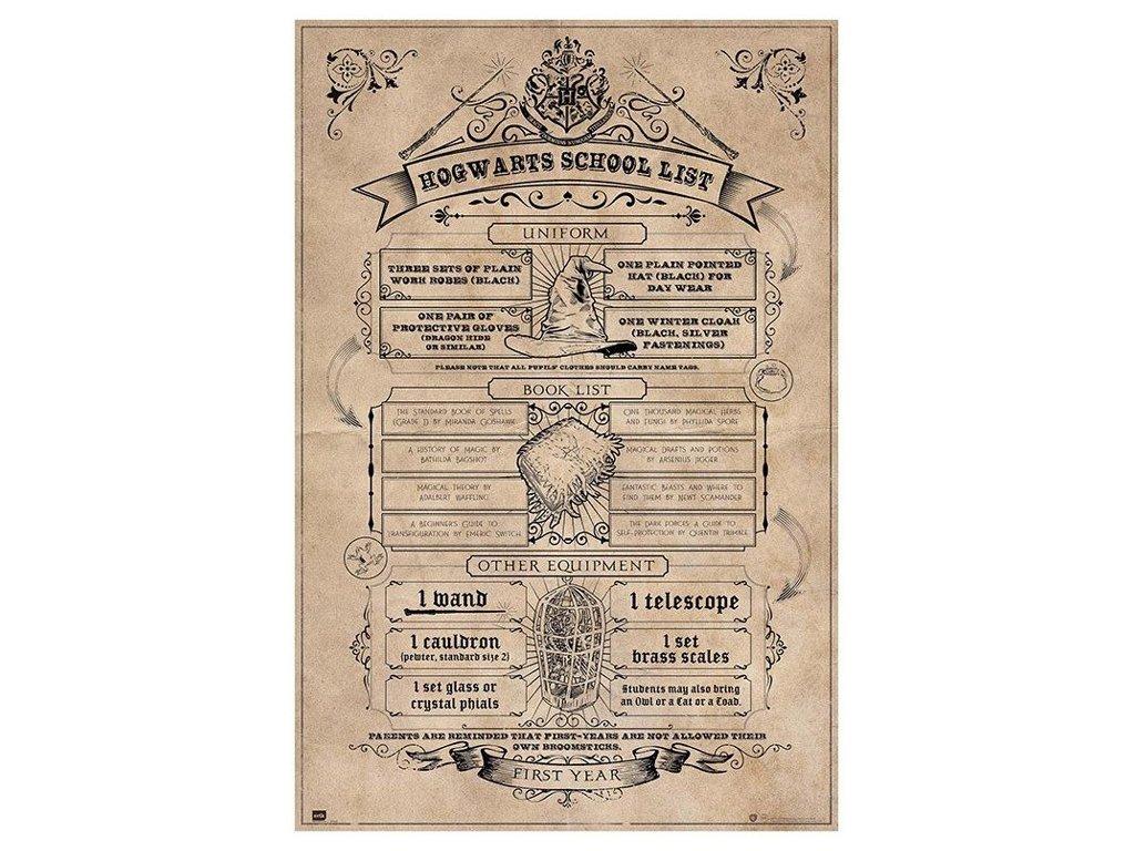 PLAKÁT 61 x 91,5 cm|HARRY POTTER  HOGWARTS SCHOOL LIST