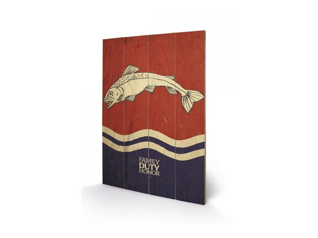 OBRAZ MALBA NA DŘEVĚ 40 cm x 59 cm  GAME OF THRONES TULLY
