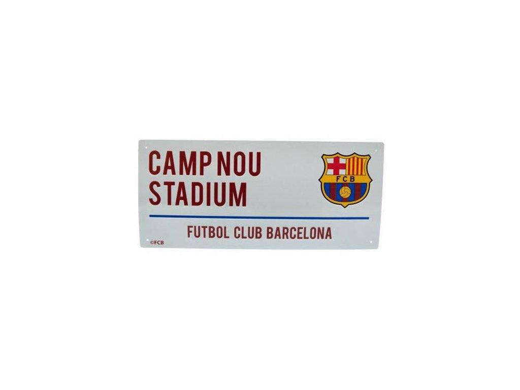 CEDULE NA ZEĎ|BARCELONA FC  STREET SIGN|ZNAK|BÍLÁ|40 x 18 cm