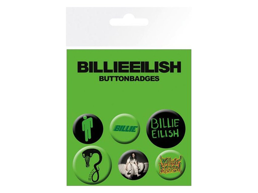 PLACKY|ODZNAKY|SET 6 KUSŮ  BILLIE EILISH|PRŮMĚR 2,5 cm|3,2 cm