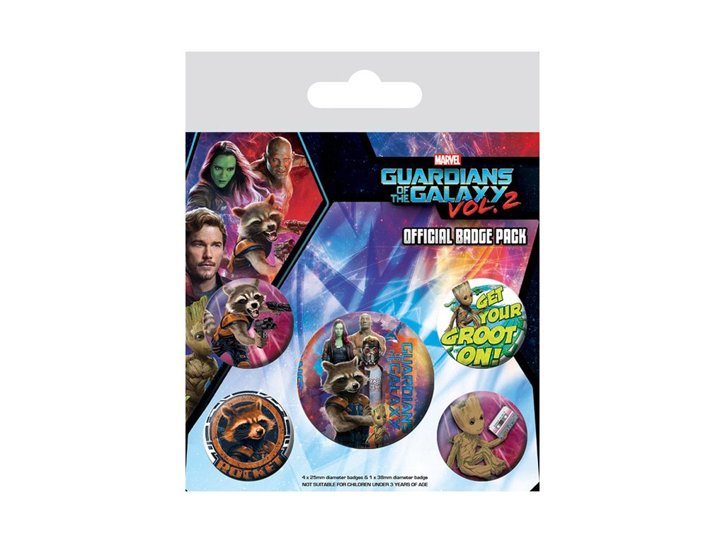 PLACKY|ODZNAKY|SET 5 KUSŮ  GUARDIANS OF THE GALAXY (25mm,38mm)