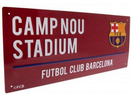 CEDULE NA ZEĎ|BARCELONA FC  STREET SIGN|ZNAK|ČERVENÁ|18 x 40 cm