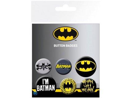 PLACKY|ODZNAKY|SET 6 KUSŮ  BATMAN COMICS|PRŮMĚR 2,5 cm|3,8 cm