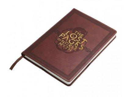 BLOK|ZÁPISNÍK A5|GOD OF WAR  THE LOST PAGES OF NORSE MYTH|HNĚDÝ