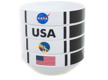 MISKA KERAMICKÁ|SET 4 KUSŮ|NASA  SHUTTLE STACKABLE