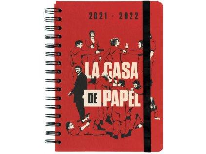 DIÁŘ 2021/2022 A5|LA CASA DE PAPEL  MONEY HEIST|KROUŽKOVÁ VAZBA