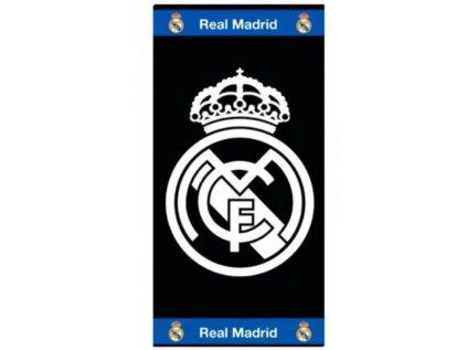 RUČNÍK OSUŠKA|REAL MADRID FC  85 x 160 cm|ZNAK|BAVLNA|ČERNÝ