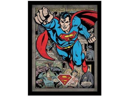 OBRÁZEK V RÁMEČKU 30 x 40 cm  DC COMICS SUPERMAN COMIC MONTAGE