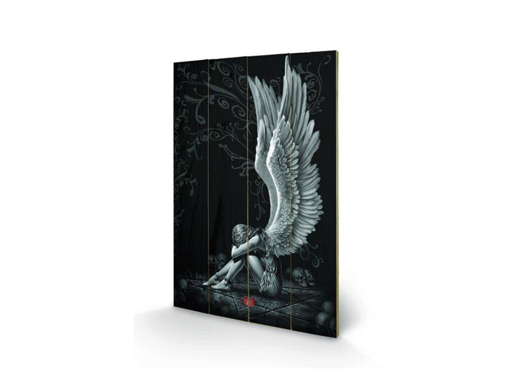 OBRAZ|MALBA NA DŘEVĚ 40 cm x 59 cm  ANDĚL|SPIRAL ENSALVED ANGEL