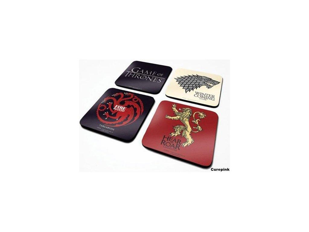 TÁCKY POD SKLENICE|BALENÍ 4 KUSŮ  GAME OF THRONES|10 x 10 cm|SET
