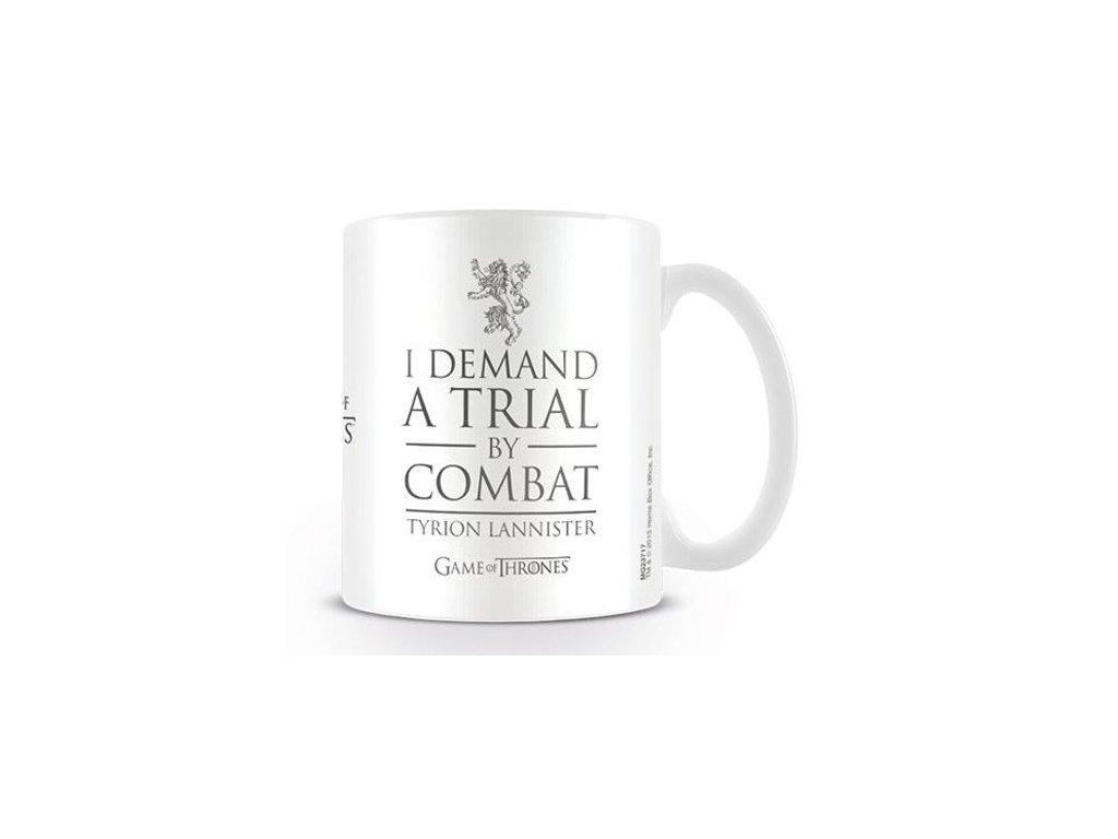 HRNEK KERAMICKÝ|GAME OF THRONES  315 ml|TRIAL BY COMBAT|BÍLÝ