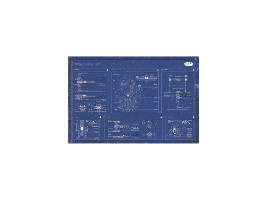 PLAKÁT 61 x 91,5 cm|STAR WARS  REBEL ALLIANCE FLEET