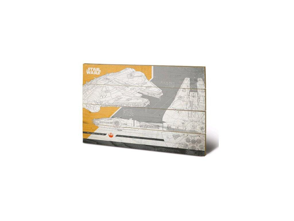 OBRAZ|MALBA NA DŘEVĚ 40 cm x 59 cm  STAR WARS VIII|MILLENNIUM FALCON